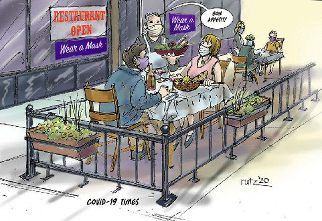 cartoon depicting a server carrying a platter of food at a restaurant patio table saying Bon Apetit to 2 patrons; everyone is wearing a mask