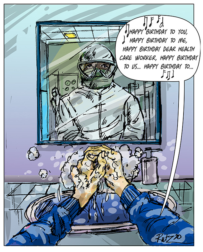 artoon depicting an individual washing hands in front of a mirror, singing happy birthday to you, happy birthday to me, happy birthday dear health care worker... reflected in the mirror is a protectively covered health care worker