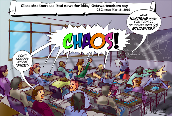 cartoon depicting a chaotic classroom with teacher expounding what it means to increase size from 22 to 28. Answer: chaos