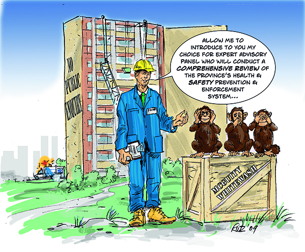 image by rutz depicting Dalton McGuinty's solution to workmen falling from scaffold