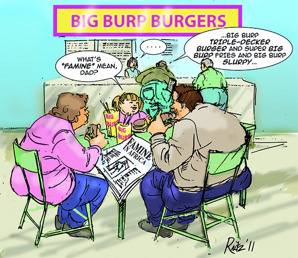 child at burger joint asks what famine means