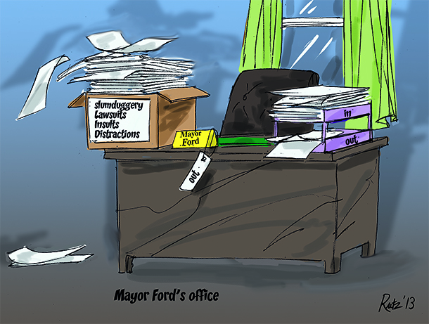 image by rutz depicting chaotic office desk